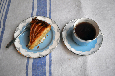 Coco&amp;Me - Galette des Rois slice with cup of tea - homemade puff pastry - Coco &amp; Me - www.cocoandme.com