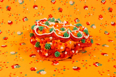 Amy Stevens art cake orange red green www.cocoandme.com coco and me Coco&amp;Me