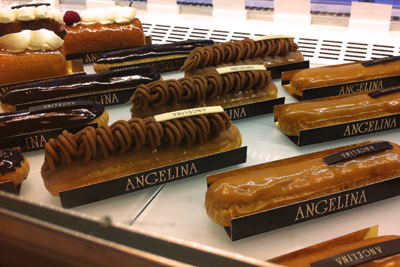 Coco&Me - www.cocoandme.com - Coco and Me - Patisserie Angelina - famous cake - Paris - Mont Blanc eclair cake window display.
