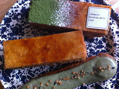 Coco&Me - www.cocoandme.com - Coco and Me - pâtisserie Sadaharu Aoki - Genmai-cha (Japanese roasted tea) eclair, mille feuille with vanilla crème pâtissière & another of those in green tea version.- Paris